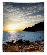 Sunset At The Black Sea Coast. Crimea Fleece Blanket