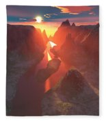 Sunset At The Canyon Fleece Blanket