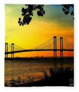 Sunset At The Delaware Memorial Bridge Fleece Blanket