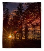 Sunset At The End Of The Hike Fleece Blanket