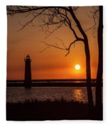 Sunset At The Lighthouse In Muskegon Michigan Fleece Blanket