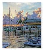 Sunset At The Marina Fleece Blanket