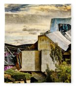 sunset at the marques de riscal Hotel - frank gehry - vintage version Fleece Blanket