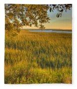 Sunset At The Marsh Fleece Blanket