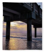 Sunset At The Pier Fleece Blanket