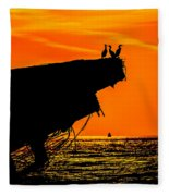 Sunset At The Ss Atlantus Concrete Ship Fleece Blanket