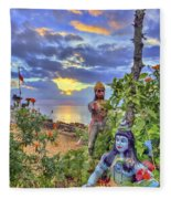 Sunset At The Temple Fleece Blanket