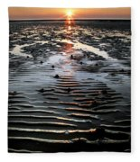 Sunset At The West Shore Llandudno Fleece Blanket