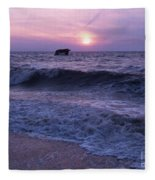 Sunset Beach Nj And Ship Fleece Blanket