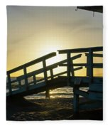 Sunset Behind A Lifeguard Station On Venice Beach Ca Fleece Blanket