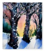 Sunset Birches On The Rise Fleece Blanket