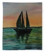 Sunset Boat 2 Fleece Blanket