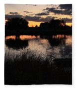 Sunset Boat Fleece Blanket