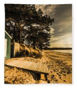 Sunset Boat Shed Fleece Blanket