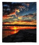 Sunset Bridge At Indian River Inlet Fleece Blanket