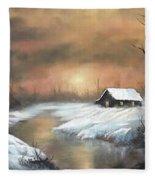 Sunset Cabin  Fleece Blanket