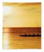 Sunset Canoe Fleece Blanket