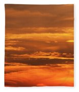 Sunset Clouds On Fire Fleece Blanket