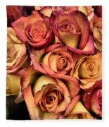 Sunset Colored Roses Fleece Blanket