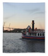 Sunset Ferry In Savannah Fleece Blanket