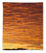 Sunset Fiery Orange Sunset Art Prints Sky Clouds Giclee Baslee Troutman Fleece Blanket