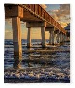 Sunset Fort Myers Beach Fishing Pier Fleece Blanket