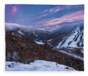 Sunset Glow Over Cannon Mountain Fleece Blanket