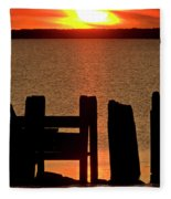Sunset Hecla Island Manitoba Canada Fleece Blanket