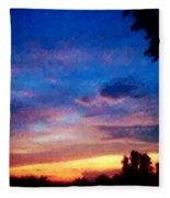Sunset In A Deep Blue Sky Line Fleece Blanket