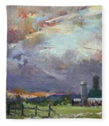 Sunset In A Troubled Weather Fleece Blanket