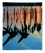Sunset In Colonial Beach Virginia Fleece Blanket