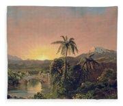 Sunset In Equador Fleece Blanket