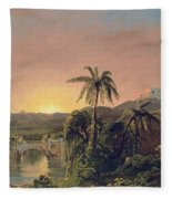 Sunset In Equador Fleece Blanket