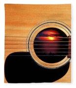 Sunset In Guitar Fleece Blanket