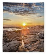 Sunset In Prospect, Nova Scotia Fleece Blanket