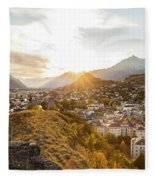 Sunset In Sion Fleece Blanket