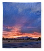 Sunset In The Desert Fleece Blanket