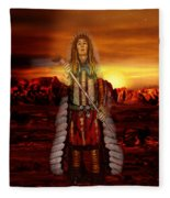 Sunset Indian Chief Fleece Blanket