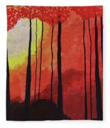 Sunset Into The Forest Fleece Blanket