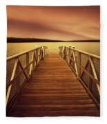 Sunset Dock Fleece Blanket