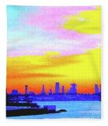 Sunset Lower Manhattan 2c3 Fleece Blanket