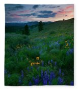 Sunset Meadow Trail Fleece Blanket