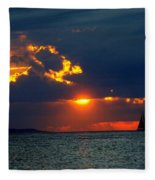 Sunset Montauk Ny Fleece Blanket