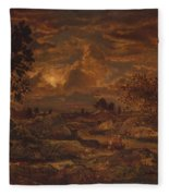Sunset Near Arbonne , Theodore Rousseau Fleece Blanket