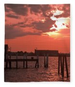 Sunset Newport Rhode Island Fleece Blanket