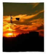 Sunset On A Windmill Jal New Mexico Fleece Blanket