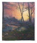 Sunset On Cannock Chase  Fleece Blanket