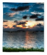Sunset On Cedar Key Fleece Blanket