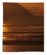 Sunset On Coast Of North Wales Fleece Blanket
