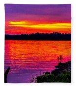 Sunset On Crab Orchard Fleece Blanket